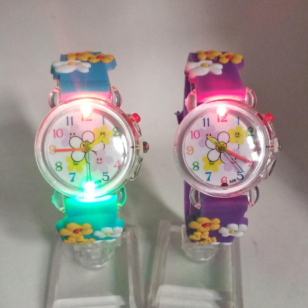 Flashing Light Source Child Boys Girls Watches Kids Electronic Colorful Glow Baby Birthday Gift Clock Children Watch 5 Flowers
