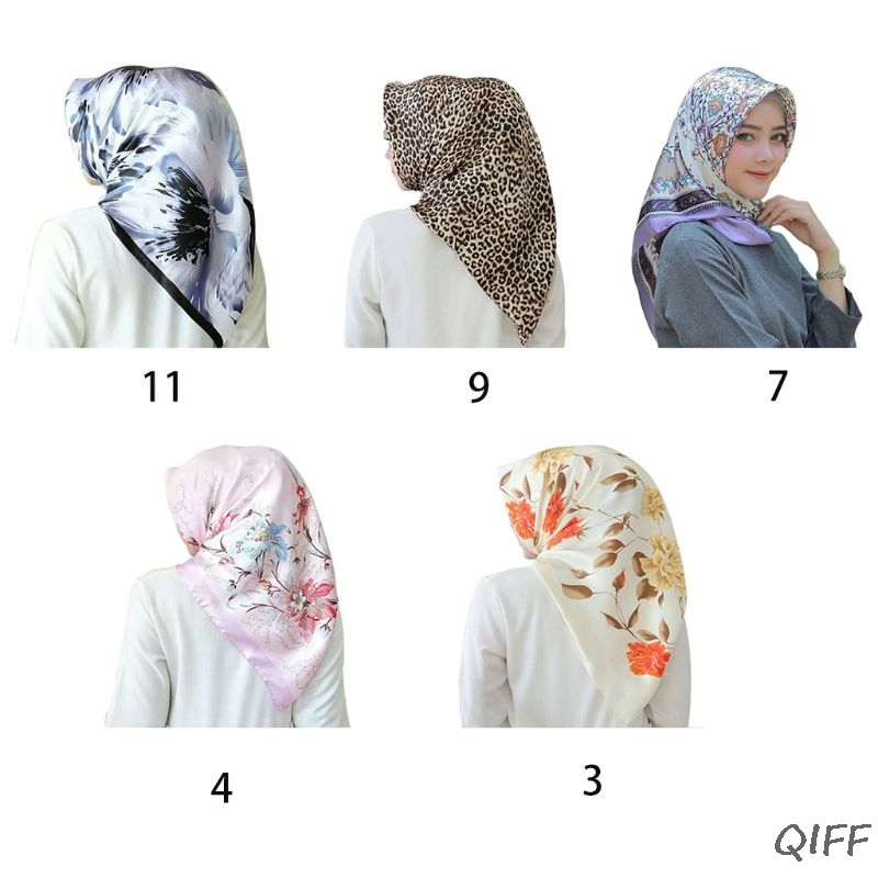 Satin Women Large Square Scarf Retro Floral Leopard Print Head Wrap Hijab Shawl