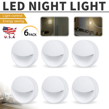 6Pcs 0.5w Warm Color Plug in LED Night Light Wall Lamp Sensor Control White Bedroom lamp dp 0 2w light control bedside wall night lamp green white 2 flat pin plug 90 240v