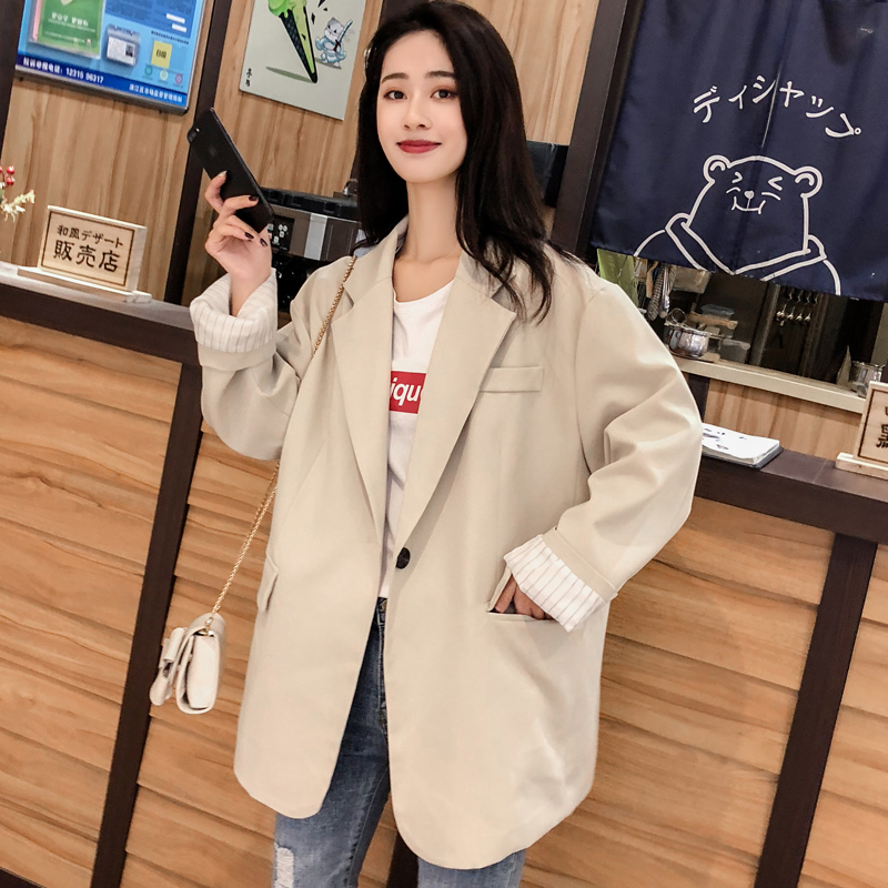 Simple Vintage Ladies Blazer Black Casual Loose Suit Jacket Long Sleeve  Giubbotto Donna Korean Women Jacket Spring New MM60NXZ