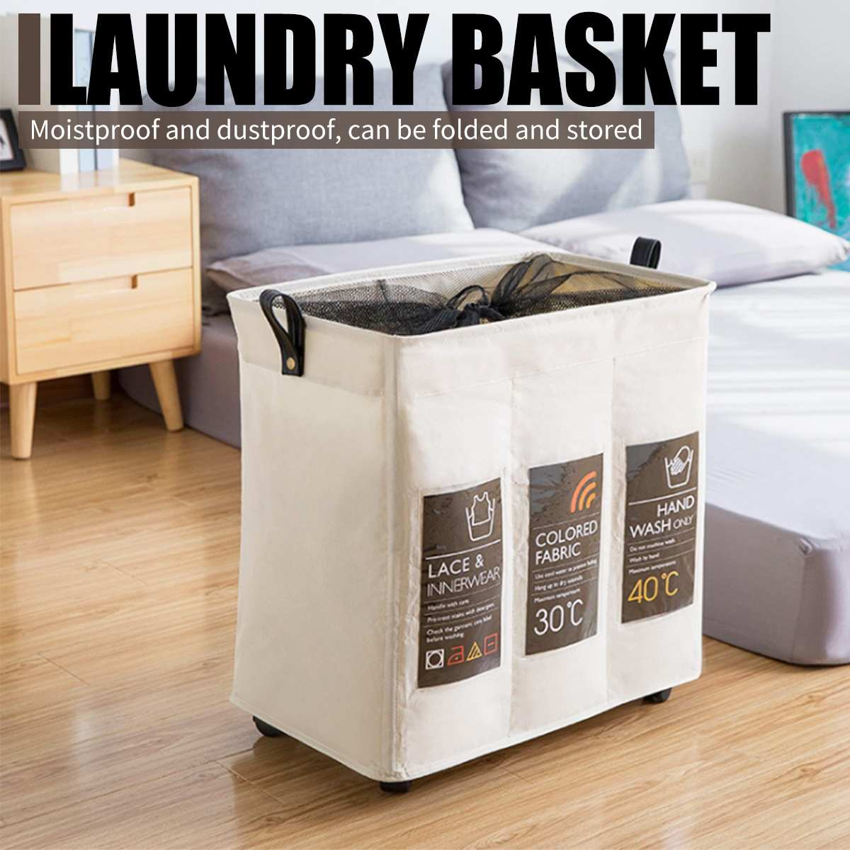 Three Grid Storage Basket With Wheels Collapsible Hamper Drawstring Laundry Basket Dirty Clothes Washing Bag Storage Organizer