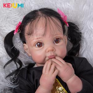 KEIUMI 55 cm Real Reborn Baby Girl Dolls Soft Cloth Body Handmade Fiber Hair Lovely Boneca Reborn Toys For Kids Christmas Gifts