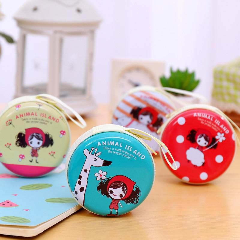 Sleeves Korean Style Creative Cartoon Earphone Bag Pula Girl Tinplate Coin Purse Circle Coin Bag