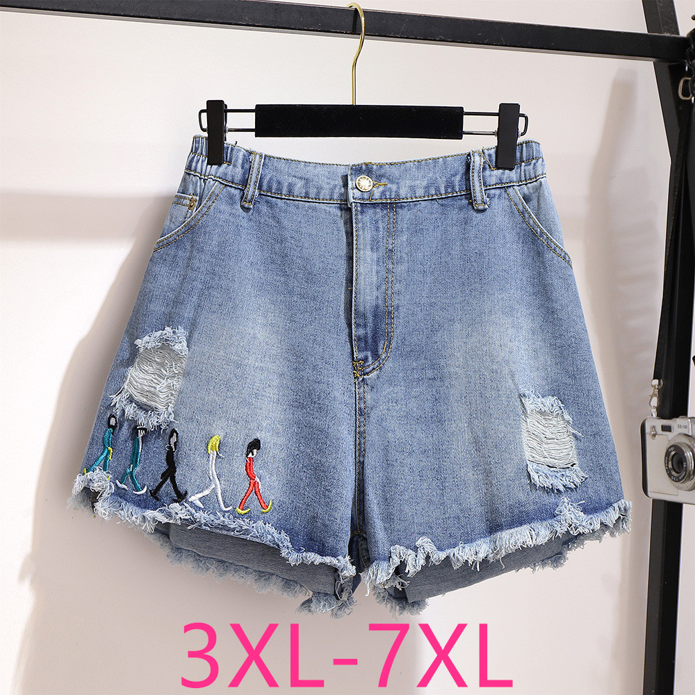 2020 Summer Plus Size Denim Shorts For Women Large Loose Casual Elastic Waist Hole Wide Leg Retro Shorts Blue 4XL 5XL 6XL 7XL