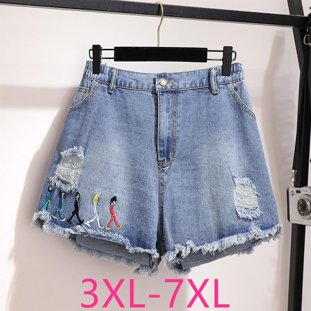 2020 Summer Plus Size Denim Shorts For Women Large Loose Casual Elastic Waist Hole Wide Leg Retro Shorts Blue 4XL 5XL 6XL 7XL