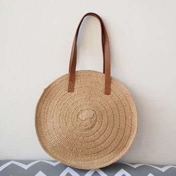Vintage Braided Straw Bag Single Shoulder Handbagsc Vcation Beach Bags Boho Shoulder Bag