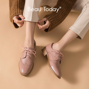 BeauToday Brogues Women Genuine Cow Leather Classic Derby Shoes Square Toe Lace-Up Closure Ladies Flats Handmade 21446
