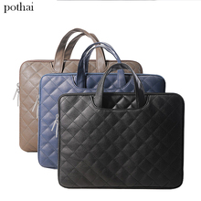 Yicana 11 13 14 15.6 inch Pu Leather Laptop Sleeve Handle bag Briefcase for Macbook Air Pro Retina 11.6 15.4