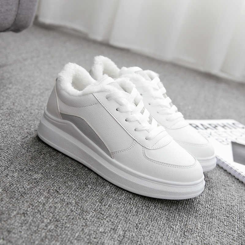 PU Platte Hak Casual Schoenen Vrouwen Sneakers 2019 Winter Korte Pluche Witte Sneakers Voor Vrouwen Warm Ademend Dames Schoen Houden warm