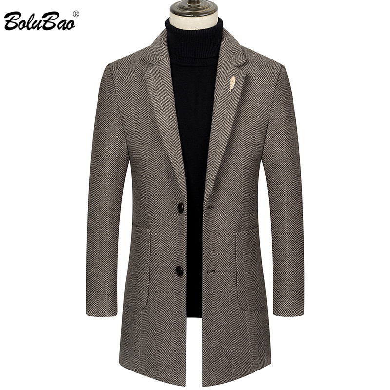 BOLUBAO Men Quality Wool Blends Coats Brand Men's Fashion Casual Long Section Overcoat Thick Warm Wool Coat Clothing