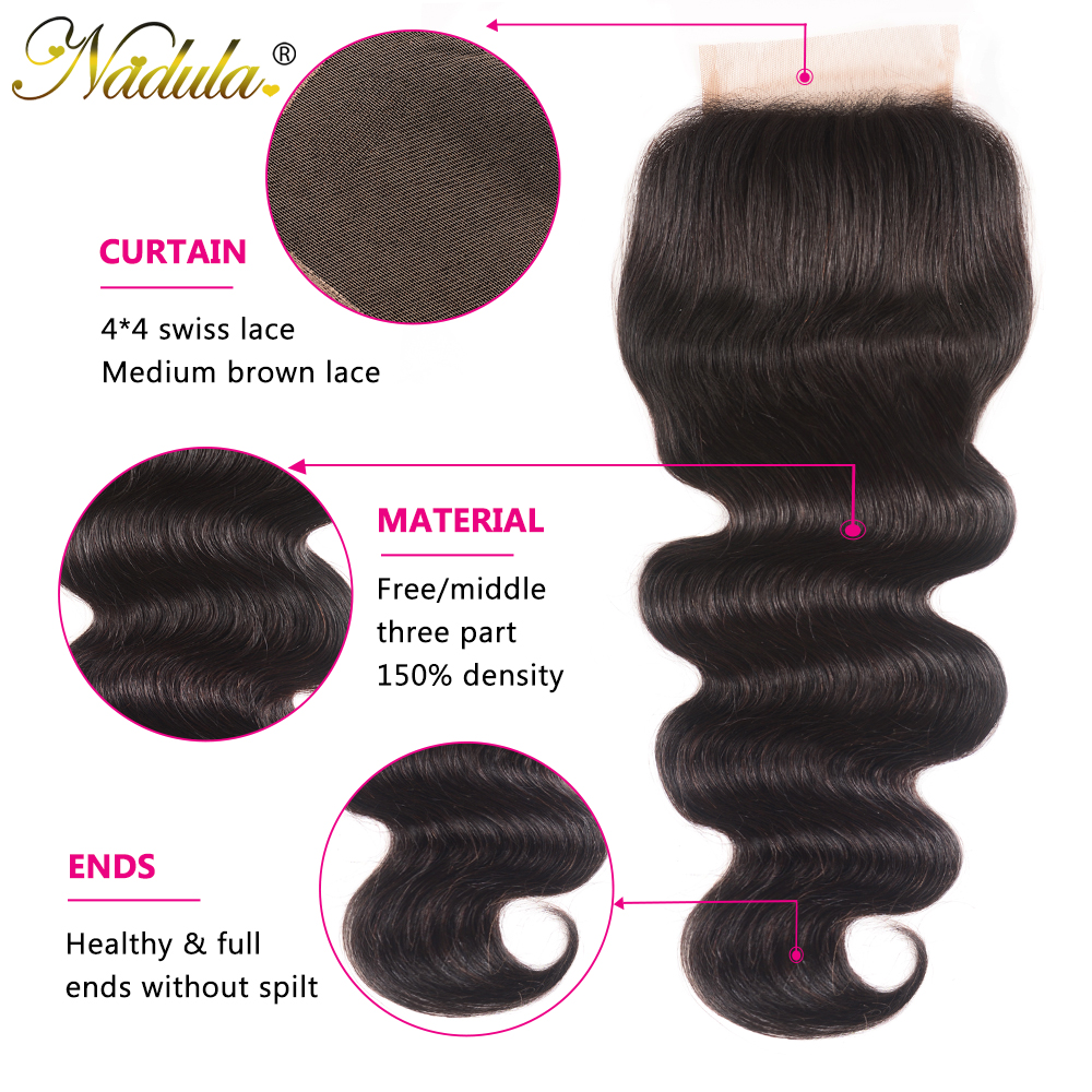 Nadula Hair 4*4 Middle /Free Part  Body Wave Hair Closure 100%   Hair Swiss Lace Closure 10-20inch 3