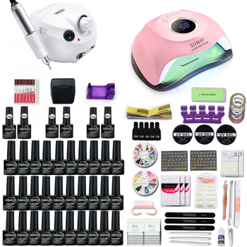 Nail set 10&20&30 Color Gel Nail Polish With 120W UV/LED Lamp Nail Dryer And 35000RMP Nail drill machine For Manicure art set 1