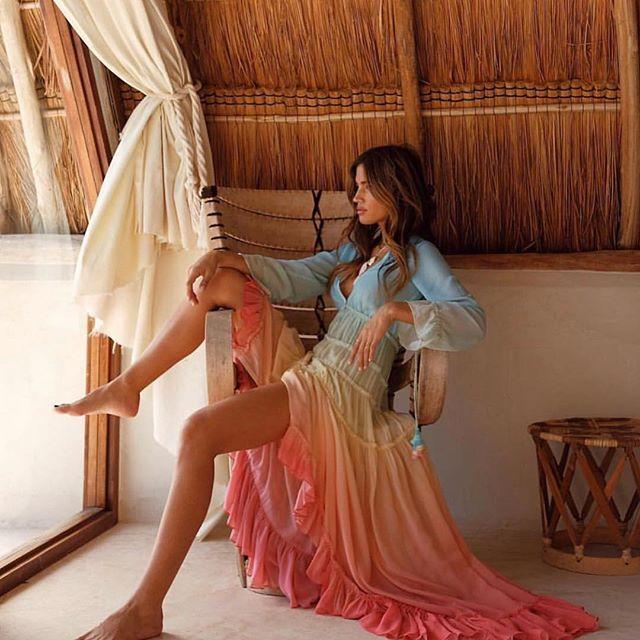 Été plage robe femmes Boho arc-en-ciel dégradé Maxi robes Sexy profonde col en V élégant en mousseline de soie tenue décontractée - 3