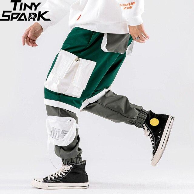 Men Hip Hip Cargo Pants Multi Pockets 2020 Harajuku Pant Joggers Baggy Color Block Patchwork Sweatpant Streetwear Track Trousers
