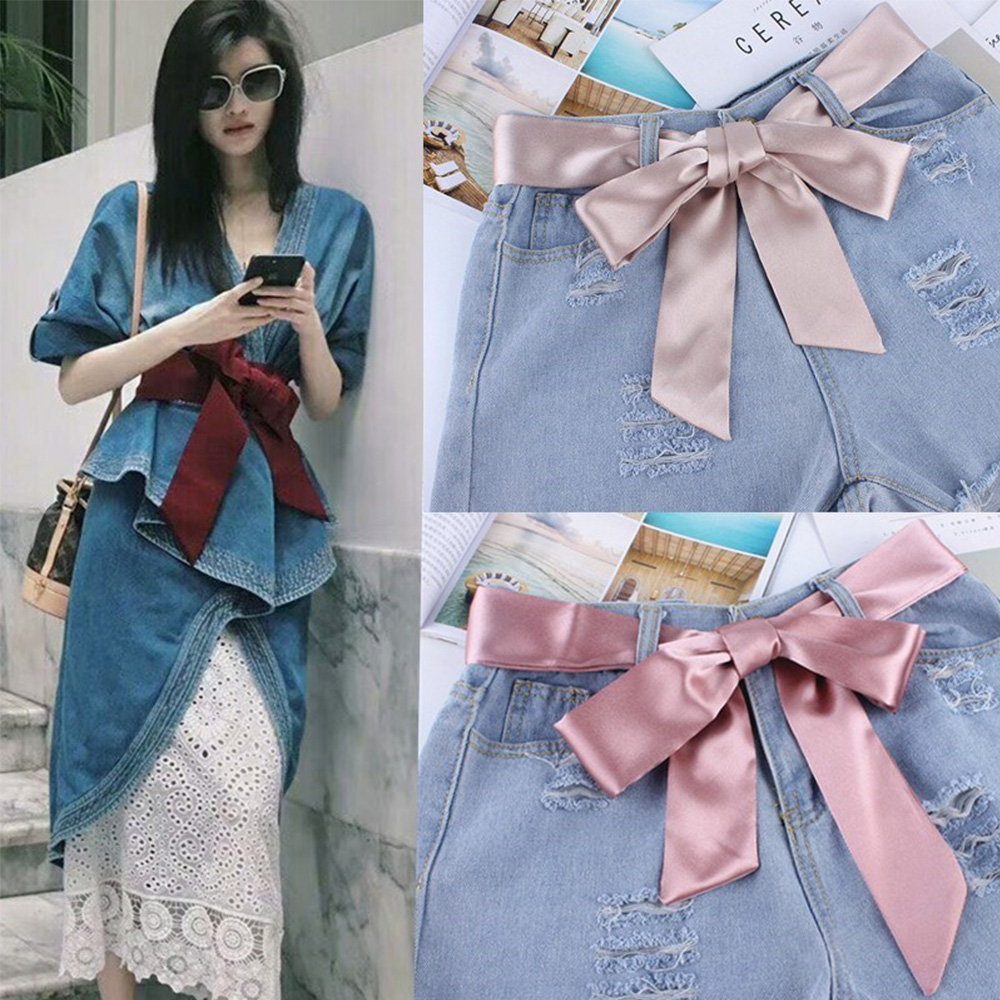 1PC Fashion Wide Waist Fabric Belts For Women Simple Ladies Silk Scarf Solid Ribbon Knot Rope For Dresses Accessories