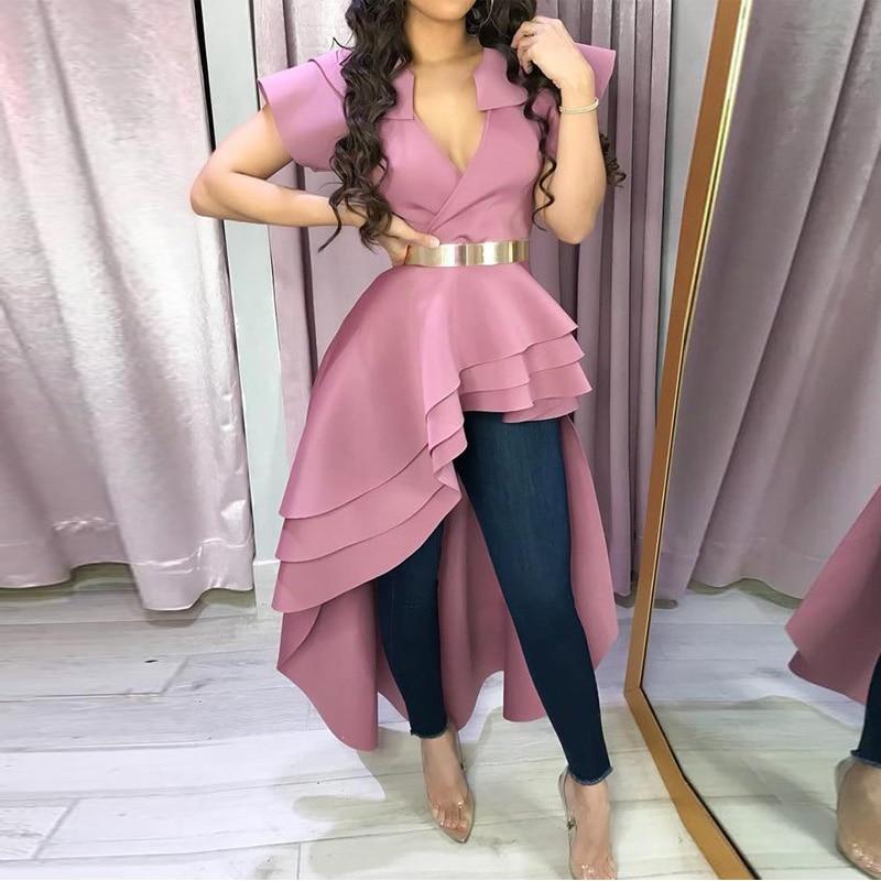 2020 New Women Blouse Ruffles Dip Hem Irregular Blouse V Neck Short Sleeve Summer Pink Blouse Shirts With Belt Female Streetwear
