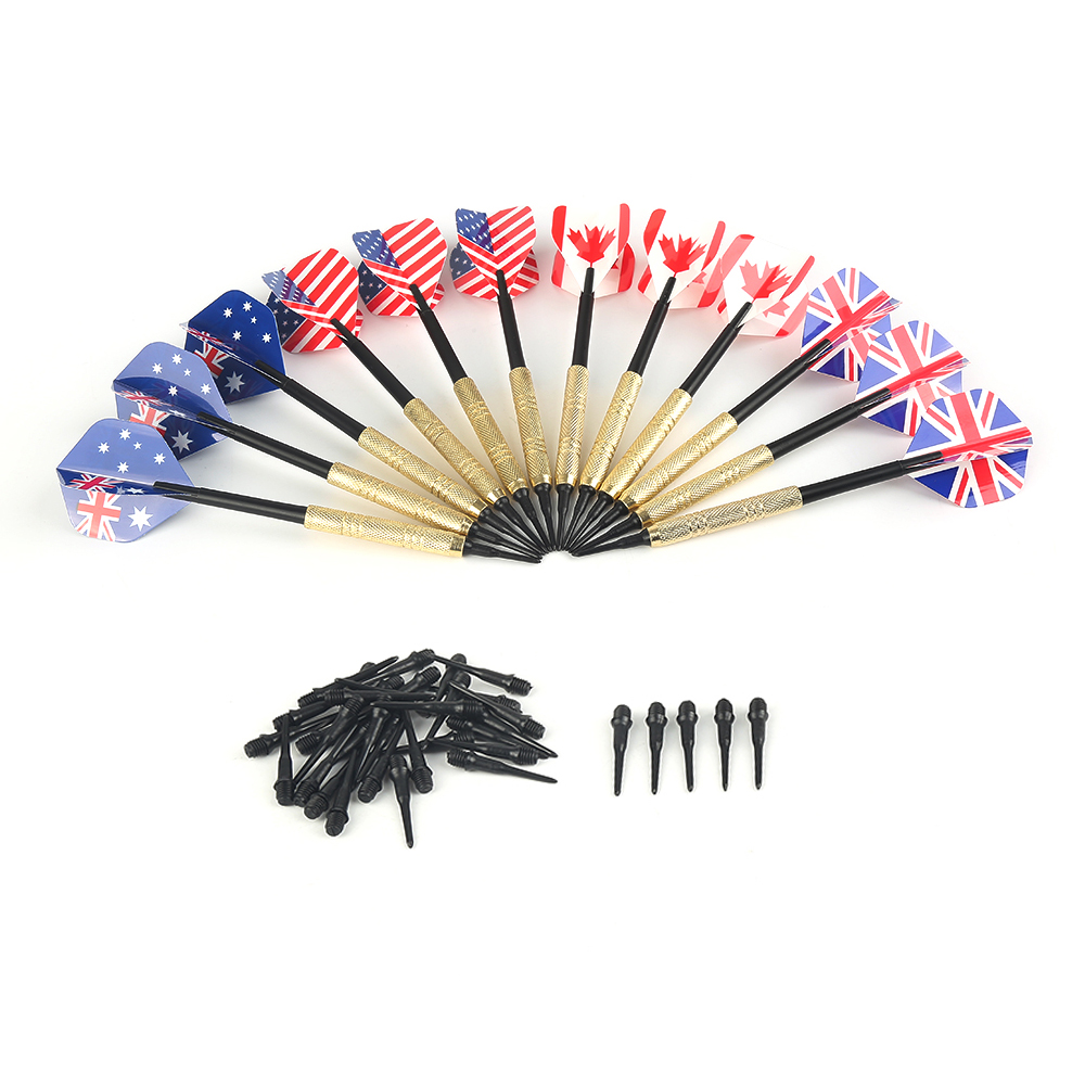 12 Pcs/Sets Of Darts  With 36 Extra Tips Nice Flights Needle Replacement Professional Plastic Soft Tip Darts For Electronic Dart