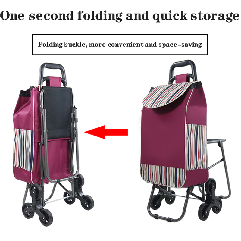 Waterproof bag shopping cart with stool trolley cart household grocery shopping trolley foldable small trailer climbing stairs