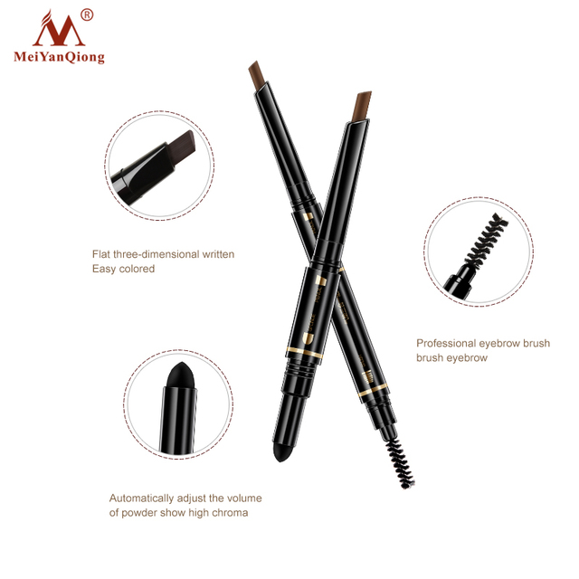 Air Cushion Triad Eyebrow Pencil Waterproof Longlasting Triangle Natural Make Up Eye Brow Liner With Brush Makeup Tools 3in1 4
