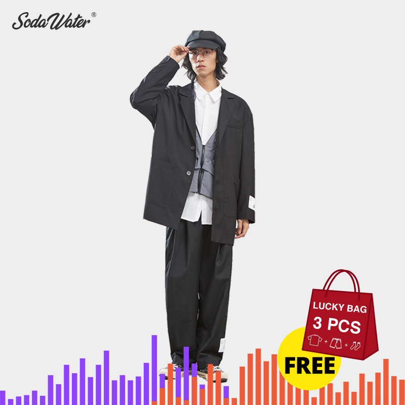 SODAWATER Design Men Blazer Solid Suit Long Blazer 2019 Autumn Casual Loose Irregular Hem Cotton Men's Outfit Terno Masculino