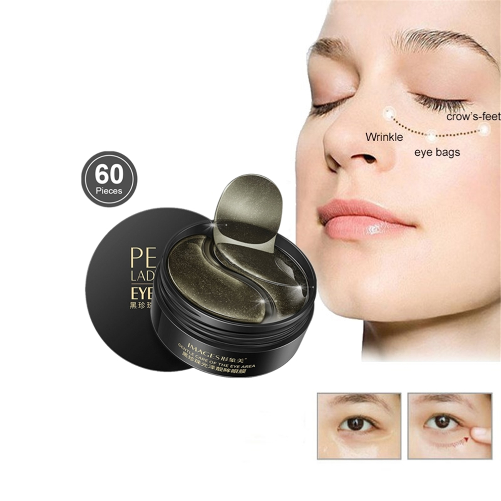 100% Nature Black Pearl Essence Eye Mask Crystal Eyelid Drooping Patch Anti Wrinkle Mask Moisture Under Eye Dark Circle Remover