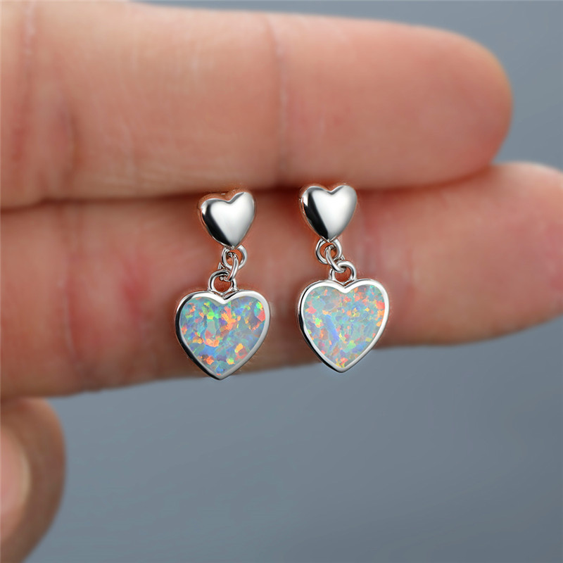 Simple Female White Opal Drop Earrings Charm Love Heart Small Stud Earrings Classic Silver Color Wedding Earrings For Women