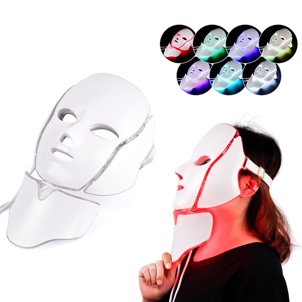 Electric Led Facial Mask Skin Rejuvenation Face Machine Light Therapy Acne Mask Neck Beauty 7 Colors LED Photon Therapy