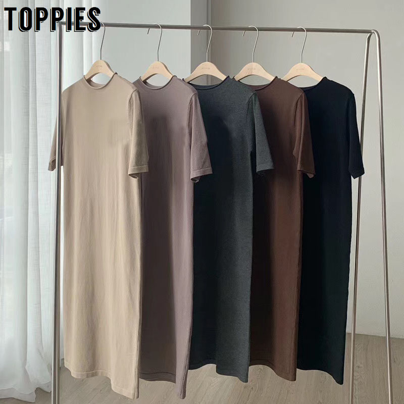 2020 Summer Short Sleeve Dress Solid Color Korean Midi Dress Women Cotton Round Neck Straight Pullover
