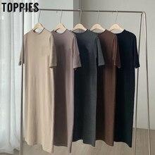 2020 summer short sleeve dress solid color korean midi dress women cotton round neck straight pullover