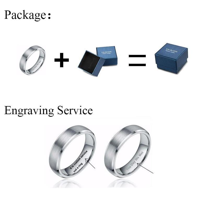 Tigrasti prstenovi za muškarce 8MM trendi volfram čisto čisto crni - Modni nakit - Foto 5