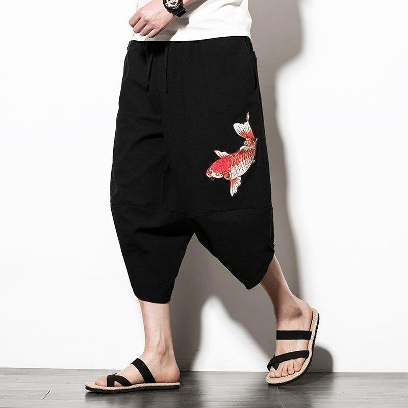 Fish Embroidery Mens Loose Harem Pants Summer Beach Cotton Linen Drop Crotch Wide Leg Pants Baggy Hip Hop Trousers Plus Size 5XL