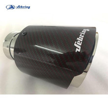 Sebring new red carbon fiber stainless steel car tail throat exhaust pipe modified muffler bright tail pipe cover tip akrapovic car exhaust tail pipes matte carbon muffler tip tail end universal stainless steel straight flange blue for bmw e46