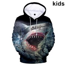 Hot 3 to 14 Years kids Hoodies Shark / Wolf /Dog / Pig / 3d Print Sweatshirt Cool Boys Girls Harajuku Cartoon Children pullovers