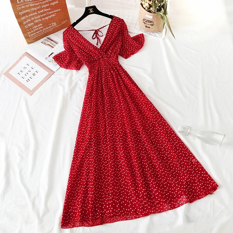 Summer Fairy Dress Women French Style Vintage Retro Chiffon Dress Short sleeve Casual Elegant Floral Print Dress Women 2021 New 26