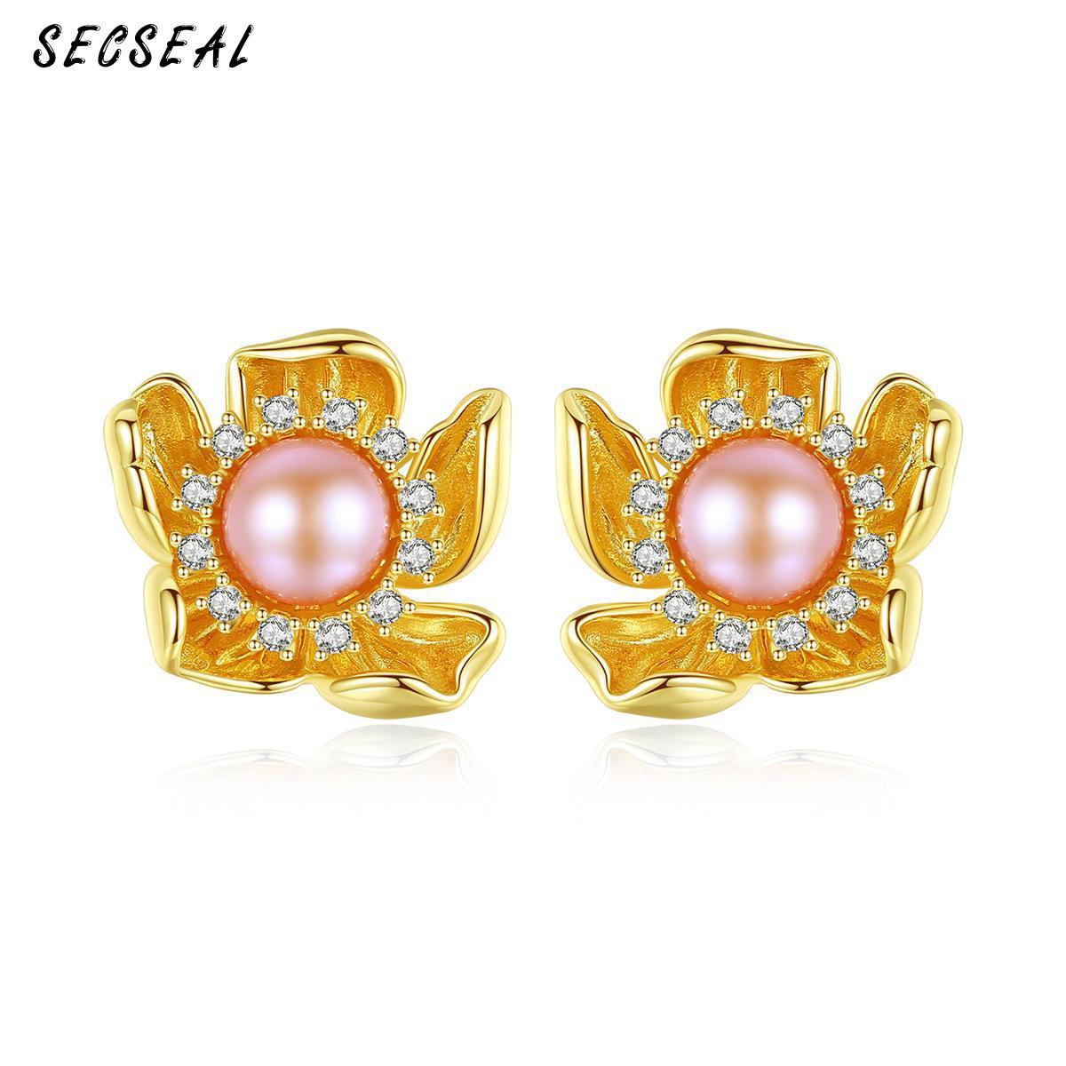 Retro Flower Shape 925 Sterling Silver Nature Pearl Luxury Stud Earrings For Women Fashion Personalized Star Earrings Jewelry