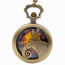 Hot Movie Theme Watches Fashion Quartz Pocket Watch Vintage Necklace Pendant Clock Gift Bronze Pocket Watch Chain Necklace