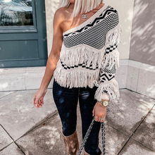 LISM Autumn Winter Women Tops Sweater One Shoulder Elegant Striped Sweater Casual Long Sleeve Knitted Tassel Jumper Pullovers