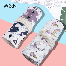 36/48/72/holes Kawaii Cat Unicorn Roll Pencil Bags Cute Canvas Pencil Pouch Pencilcase for Art Supply School Office Stationery