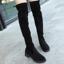 LZJ 2019 Slim Boots Sexy Winter Knee High Suede New Women's Fashion Comfortable Warm Thigh High Boots Winter Boots Women(China)