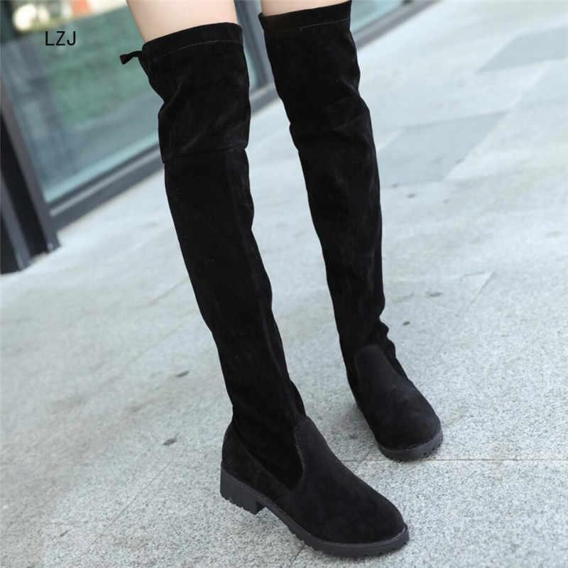 LZJ 2019 Slim מגפיים סקסי חורף הברך גבוהה זמש חדש נשים של אופנה נוח חם ירך גבוהה מגפי חורף מגפיים נשים