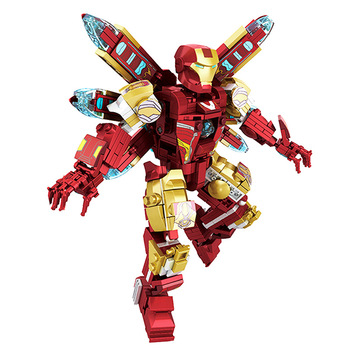 цена на Upgraded Version Marvel Iron Man Hulkbuster Avengers Infinity War Machine Building Blocks Super Heroes War Children Toy