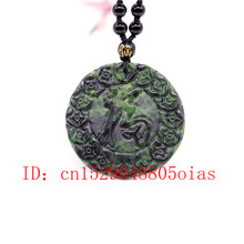 Natural Black Green Chinese Jade Pendant Beads Necklace Charm Jewelry Obsidian Accessories Carved Amulet Gifts for Men(China)