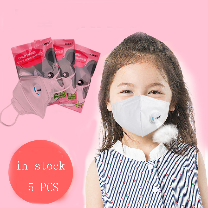 5PCS Hot Sale Valve Dustproof Anti-fog Breathable Face Children Girls Boys Masks KidsMask Anti PM2.5