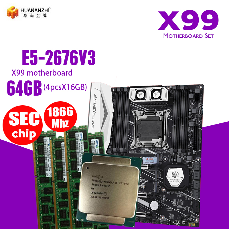 X99 motherboard DDR3 and DDR4 LGA2011-3 and LGA 2011 Intel Xeon E5 2676 V3 64GB(16GB * 4PCS)1866MHz Memory Motherboard Set(China)
