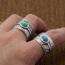 925 sterling silver fine jewelry for men women feather fashion opening couple gift ladies ring 925 sterling silver Goro Takahashi opening feather inlaid for men or women wedding ring jewelry