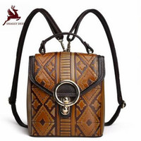 Luxury 100% Real Leather Designer s Vertical square Women's Backpack ring Fashion Retro Leisure Bags