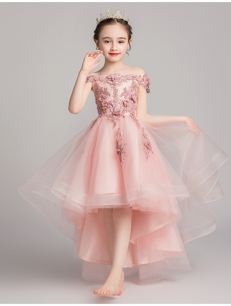 2019 New Flower Girl Bead Decoration Knee-Length Dress  Girl Wedding Party Exchange Dress Ball Beauty Sexy Shoulder Dress