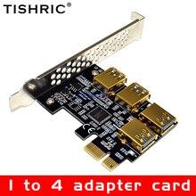TISHRIC tarjeta adaptadora PCI de 1 a 4 chapado en oro, Multiplicador de puerto USB 3,0, PCI Express, adaptador de tarjeta elevadora PCIE para minería de Bitcoin