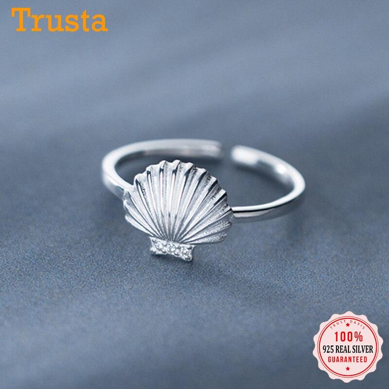 Trust davis réel 925 en argent Sterling mode douce coquille brillant CZ anneau douverture pour les femmes fête de mariage Fine S925 bijoux DA26
