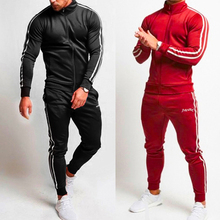 Ou Code 2019 New Striped Outdoor Fitness Jogging Sports Set Fashion Leisure